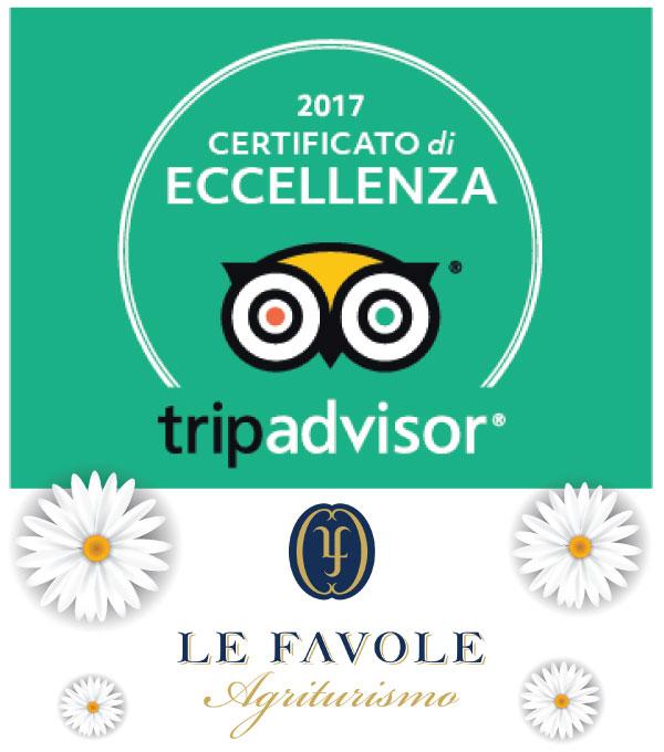 Certificato di eccellenza 2017 Tripadvisor Le Favole agriturismo B&B